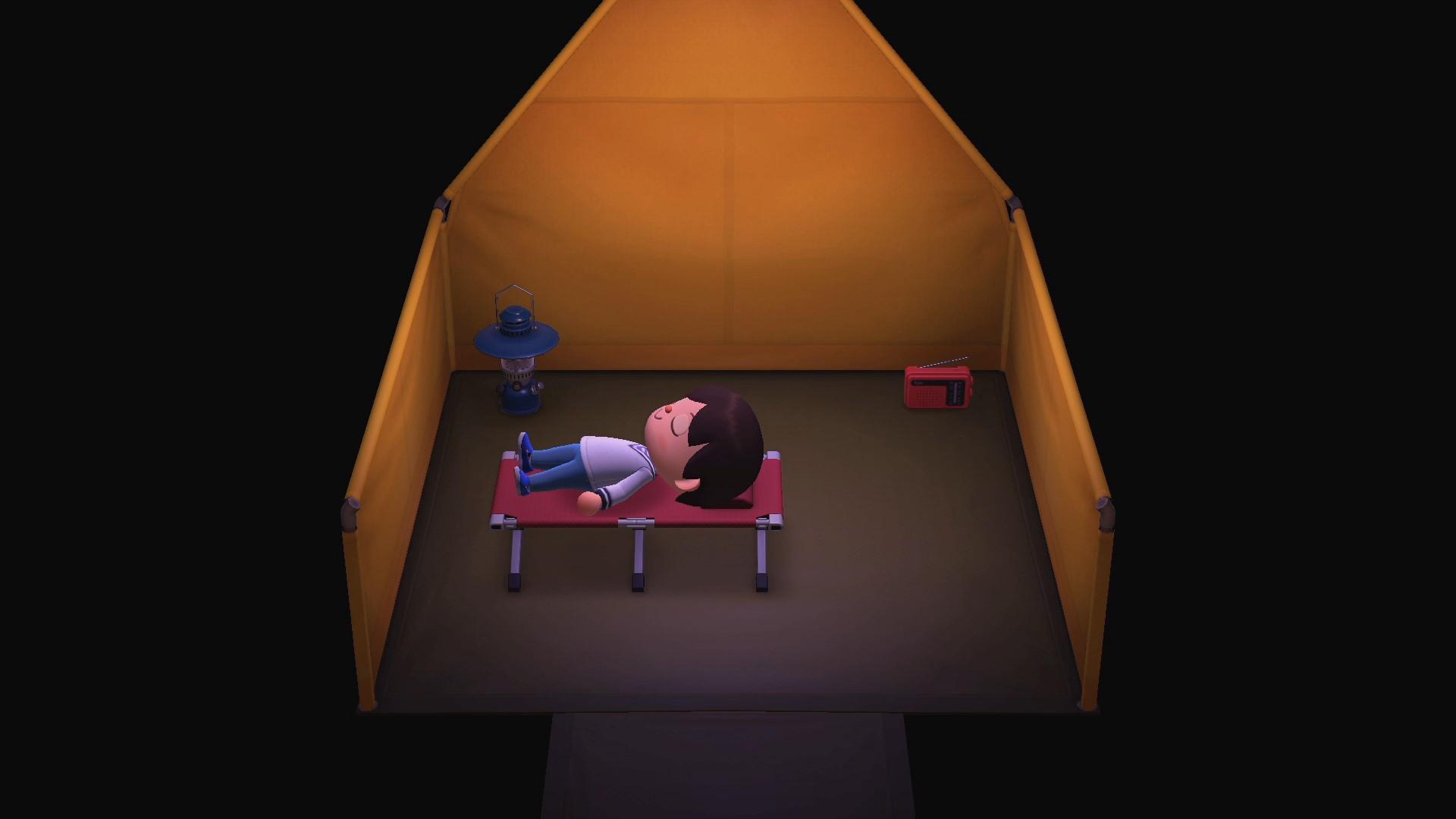 ラジオからはあつ森のBGMが流れ出した。BGMを聴きながら寝ることにしよう。あ、寝袋はないんだね (´・ω・)